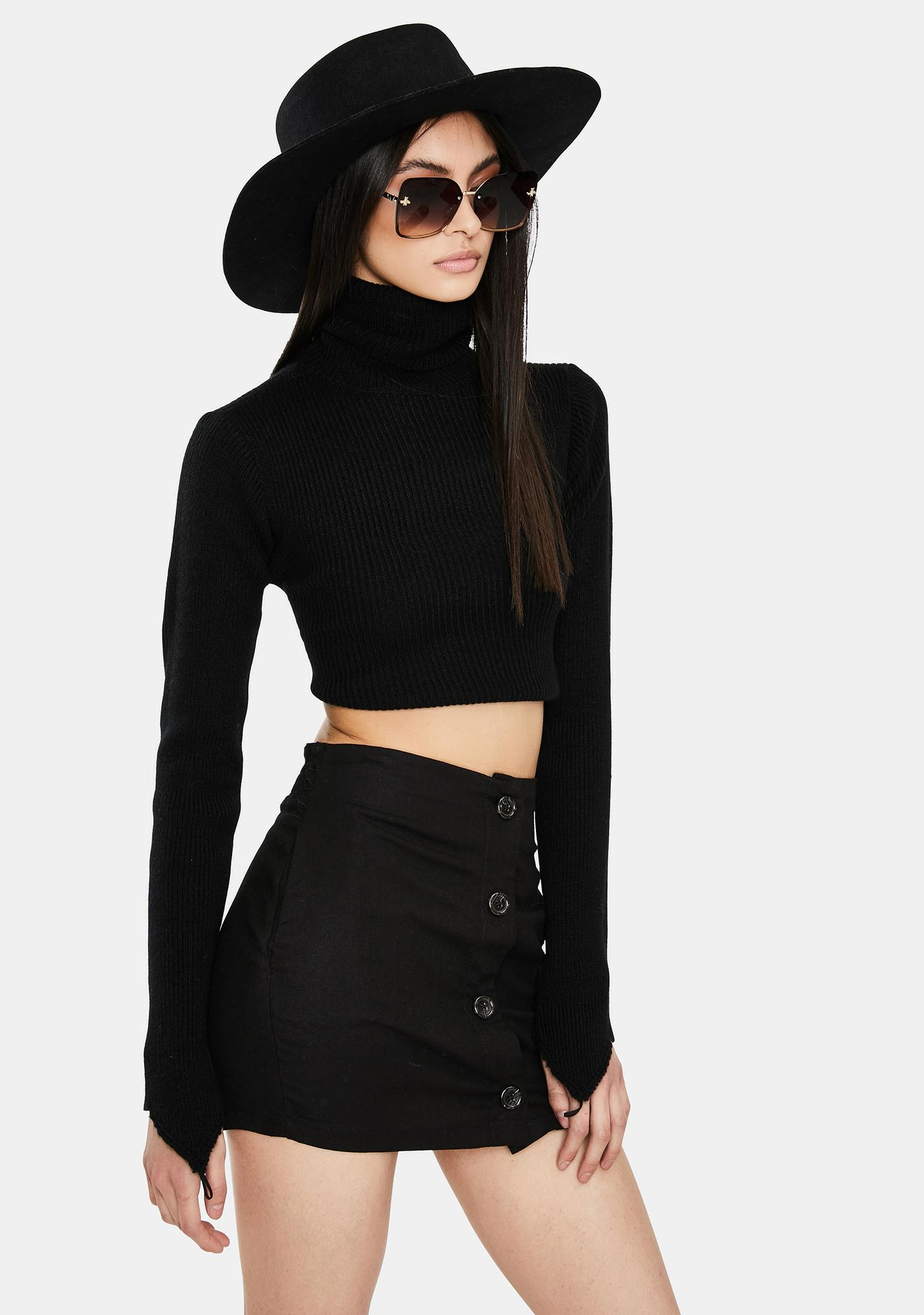 Here's To You Button Front Mini Skirt