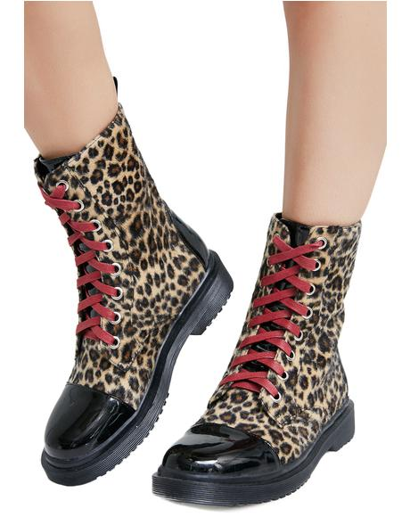 Fiercely Ferocious Leopard Combat Boots