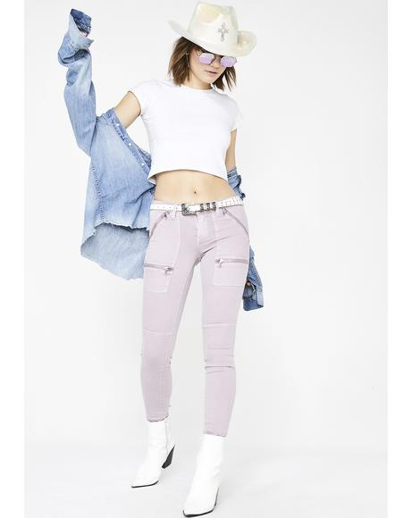 Soft Lilac Zipper Jeans