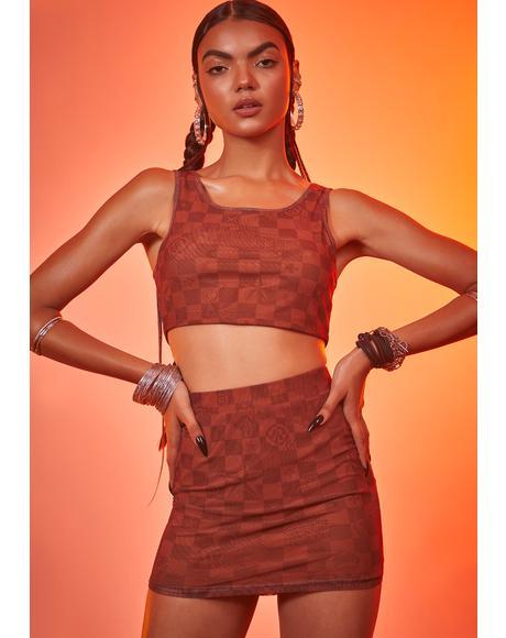 Luxury Vibes Checker Mini Skirt Set