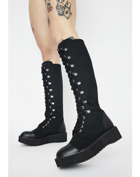 Despair Knee High Boots