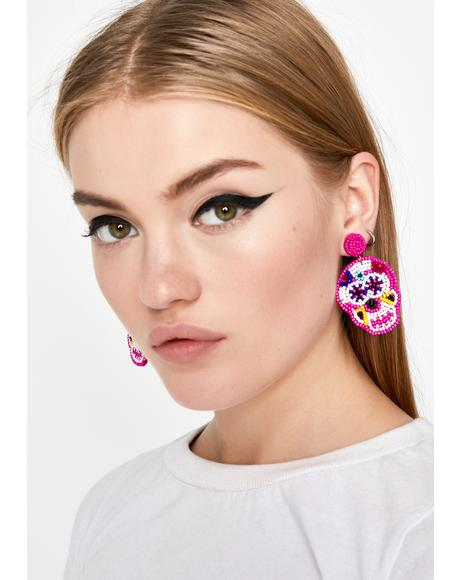 La Muerte Sugar Skull Earrings