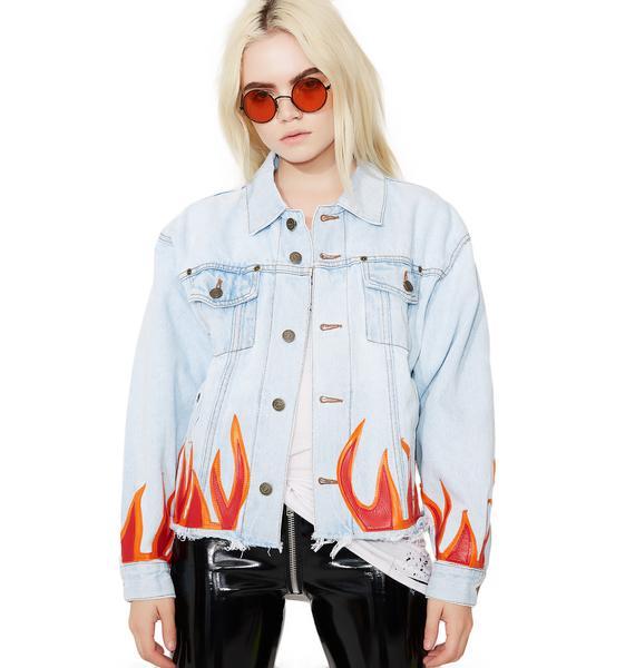 American Vintage Red Flame Denim Jacket