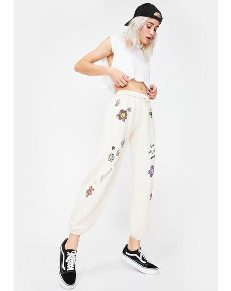 X Dessie Jackson Flower Power Sweatpants
