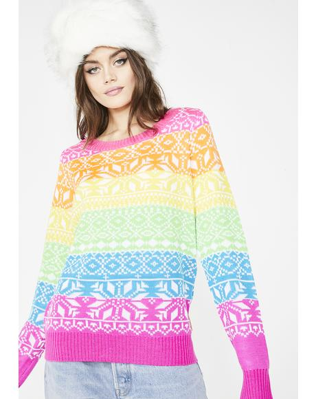 Rainbow Dayglow Ski Sweater