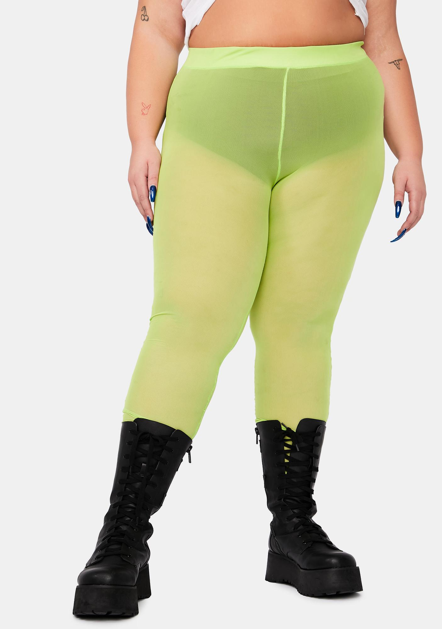 Lime I'm Pure Naughtiness Sheer Leggings