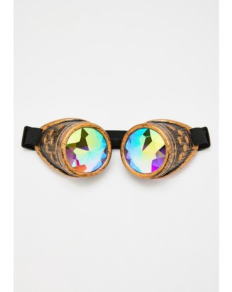 Static Steampunk Kaleidoscope Goggles