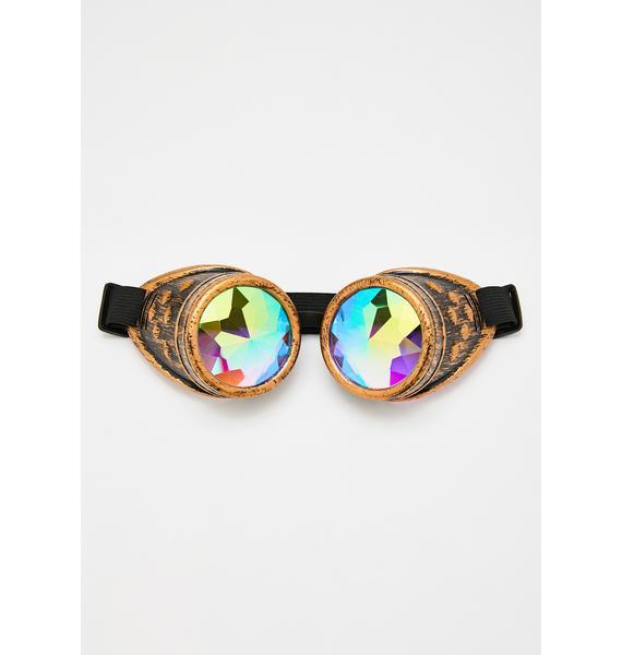Static Steampunk Kaleidoscope Goggles