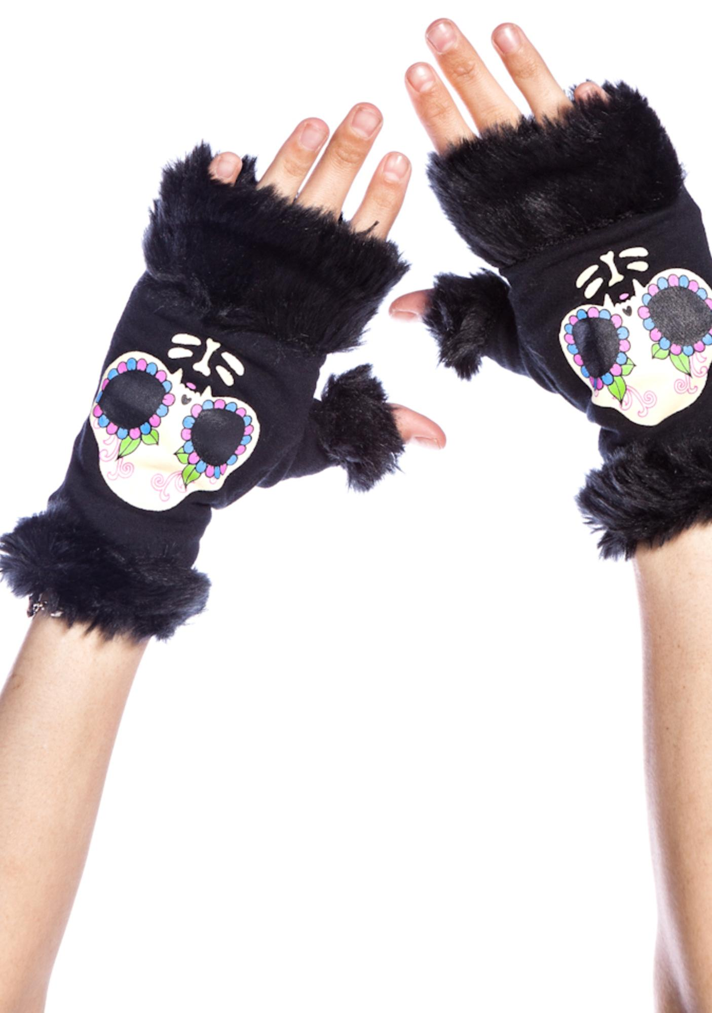 Too Fast Fur Trim Knit Kitty Gloves