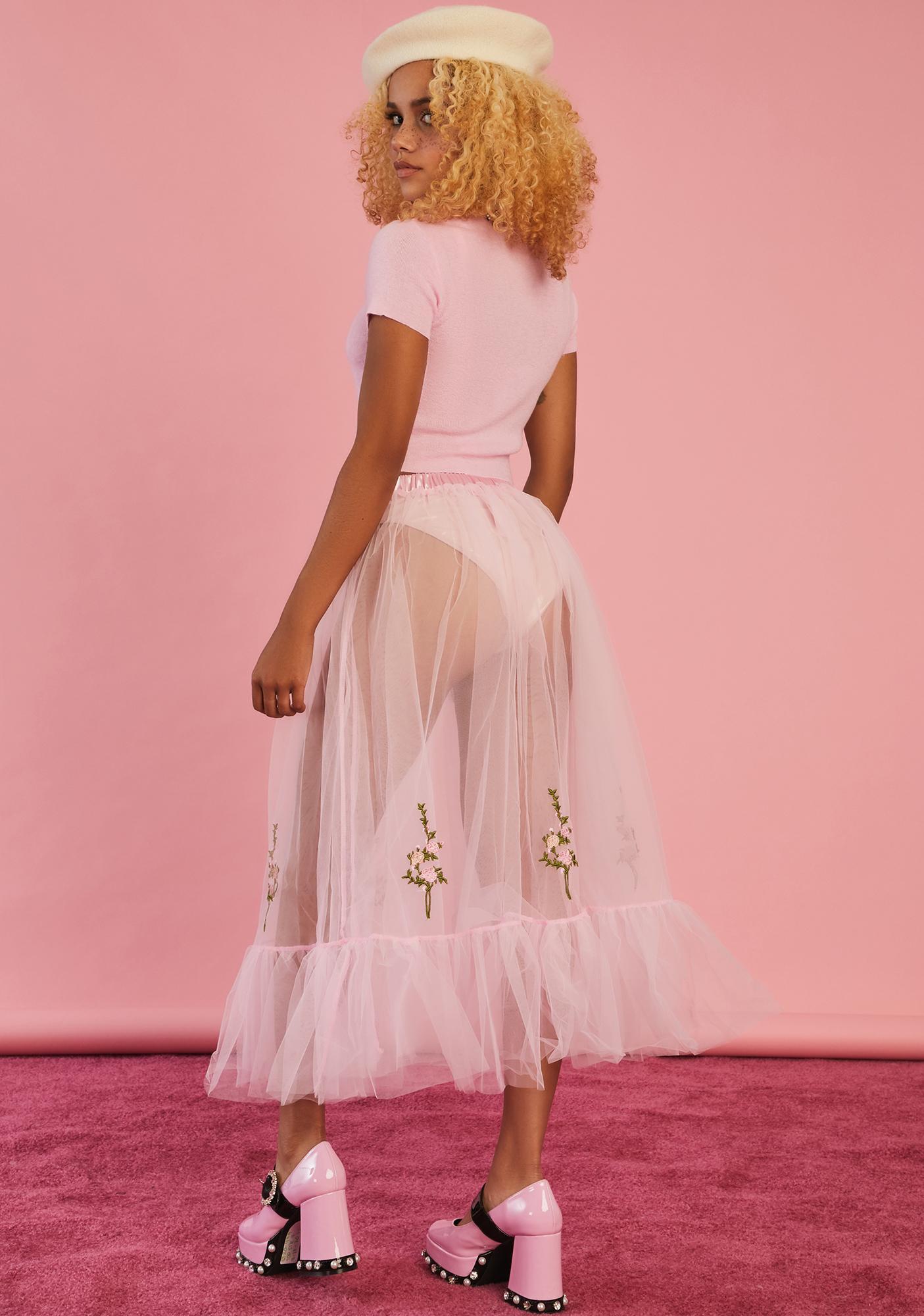 Sugar Thrillz Pure As Sugar Tulle Midi Skirt