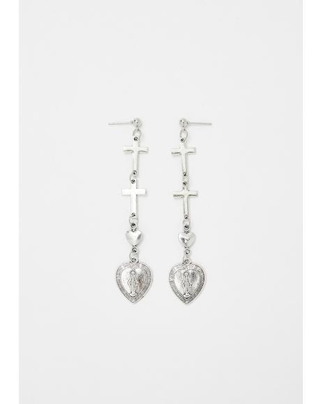 Sacred Love Heart Drop Earrings