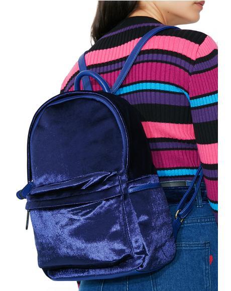 Sapphire Smooth Move Velvet Backpack