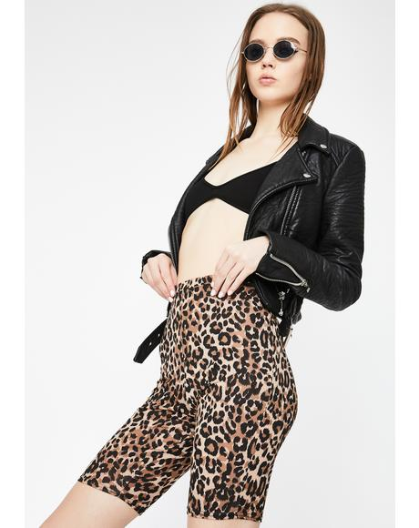 Leopard Print Cycling Shorts