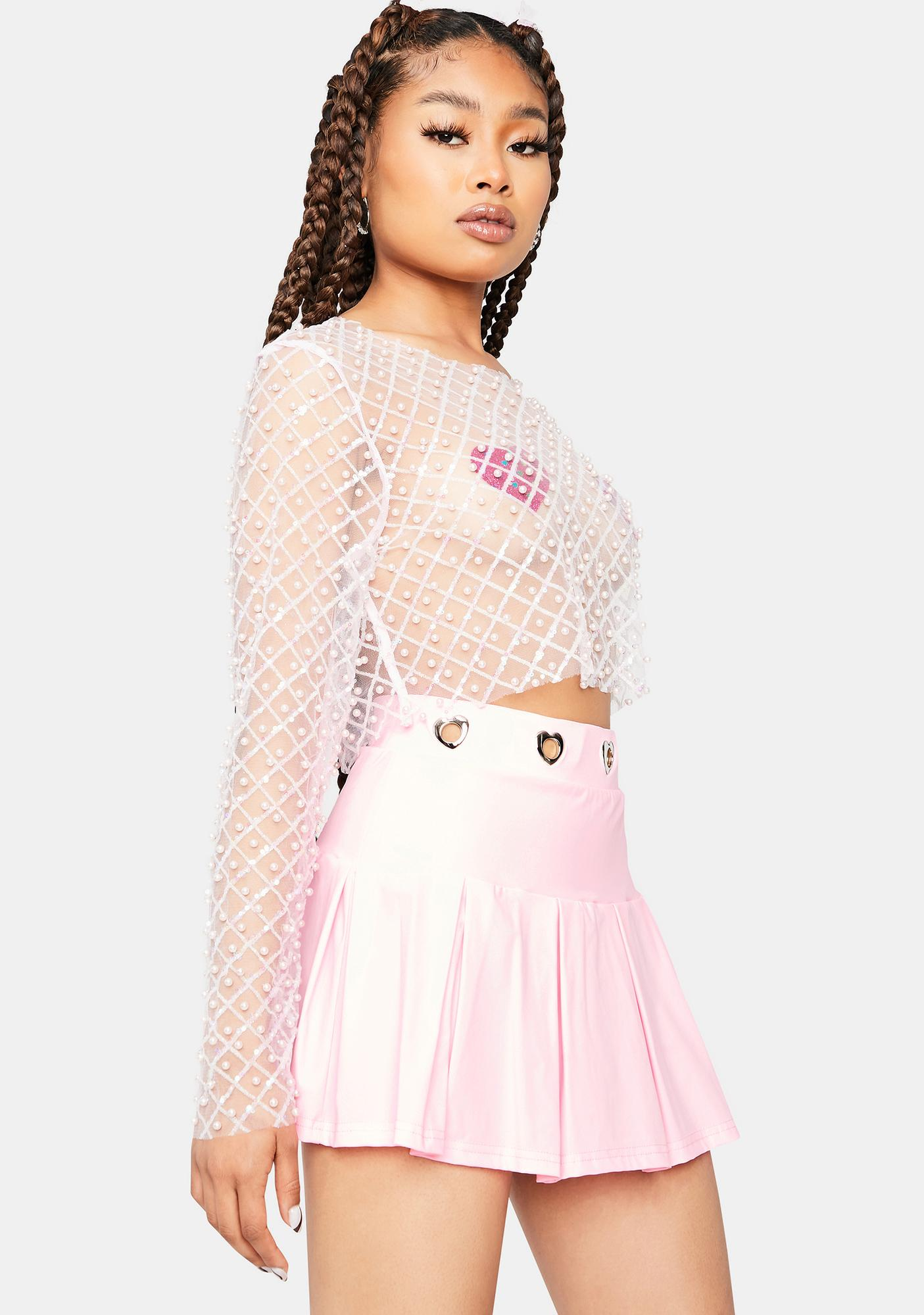 Blush Pearly Perfection Sheer Crop Top
