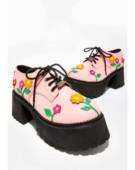 Blossoming Baby Lace-Up Platforms