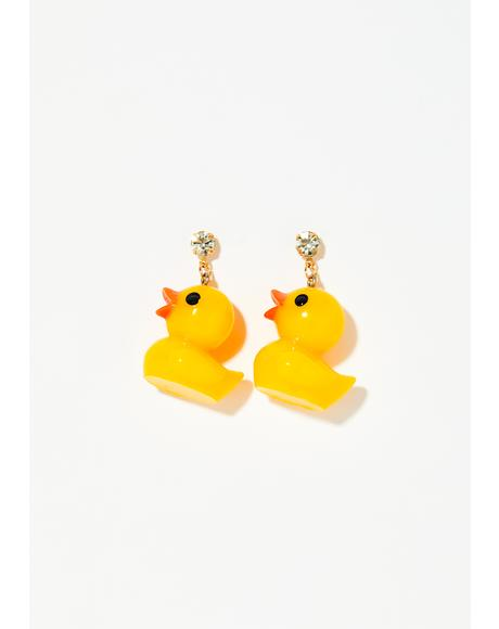 Rub A Dub Duck Earrings