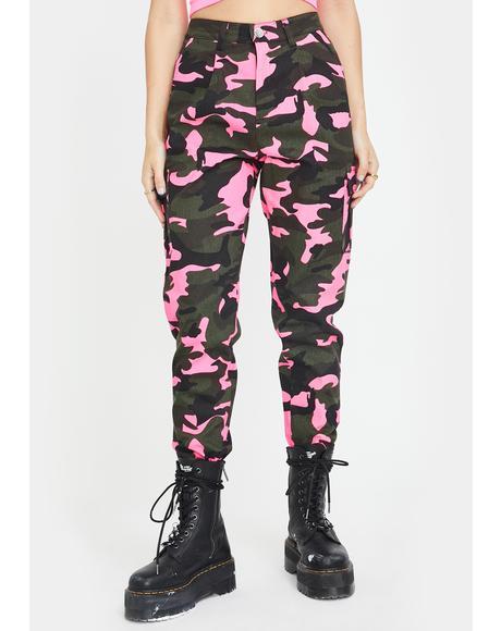 Neon Pink Camo Cargo Pants