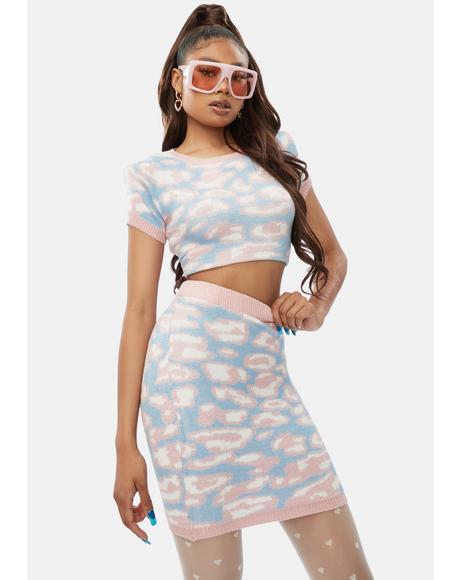 Wildest Time Leopard Knit Skirt