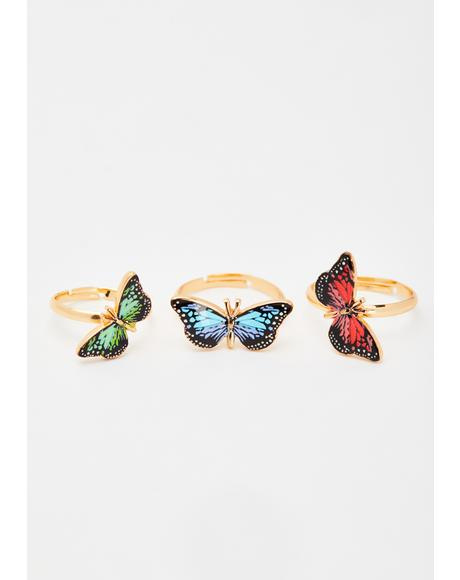 Fly Together Butterfly Rings Set
