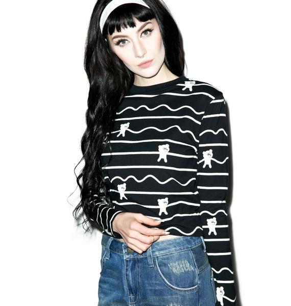Lazy Oaf Bear Stripe Long Sleeve Tee