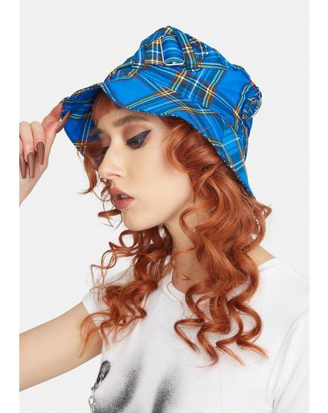 Blue Plaid Bondage Bucket Hat