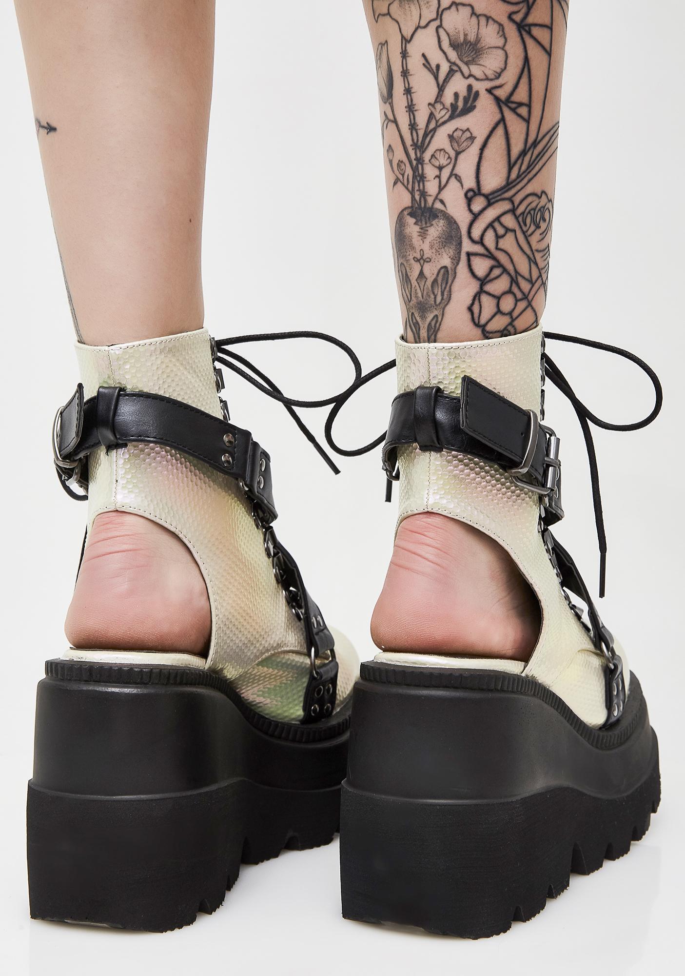 Demonia Pearl Cutout Heel Shaker Boots