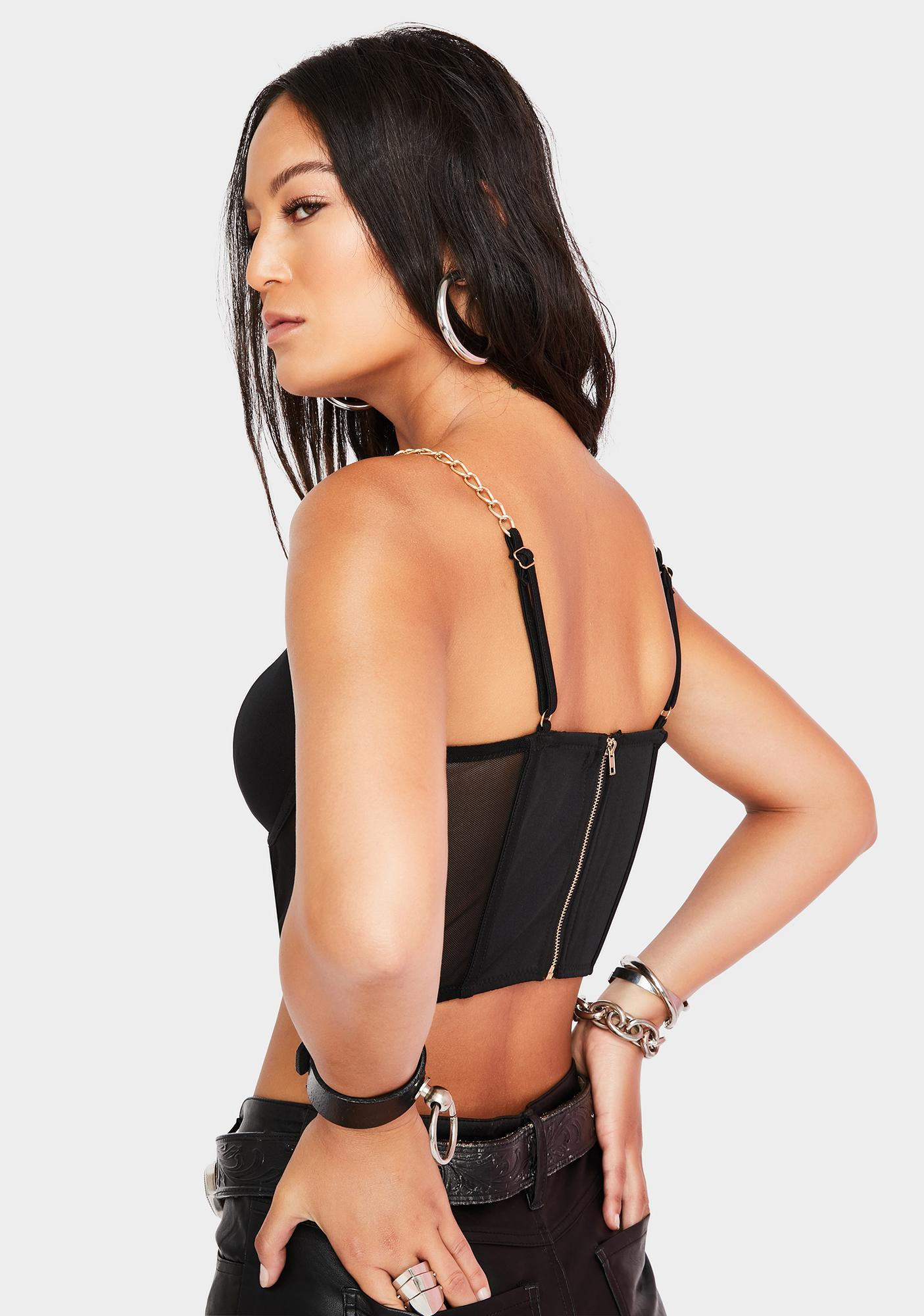 SWNY Zip Front Chain Bustier