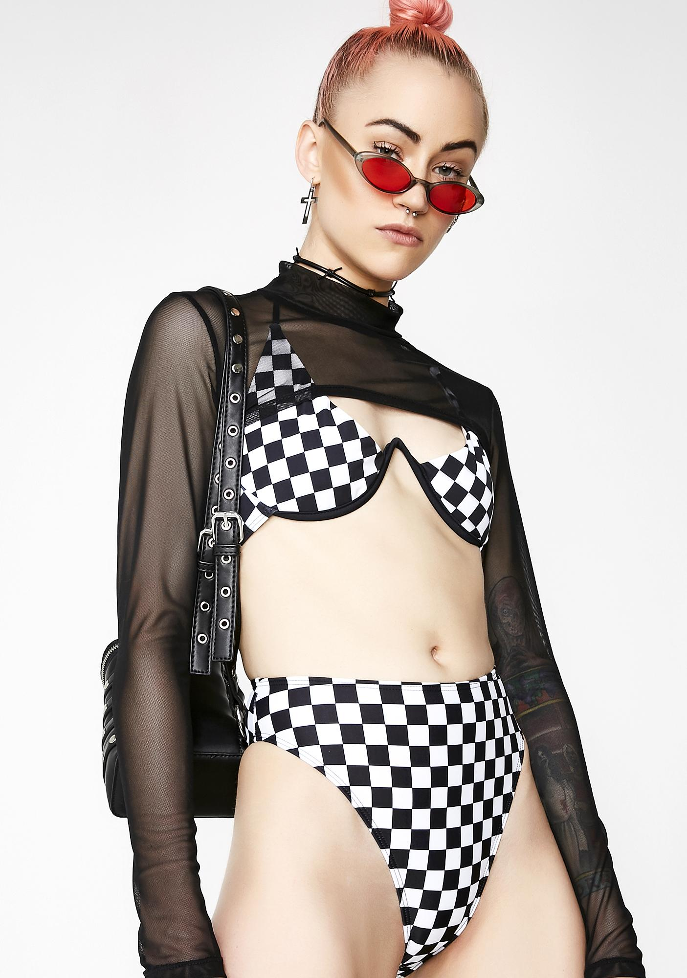 Jaded London Checkered High Leg Bikini Bottoms