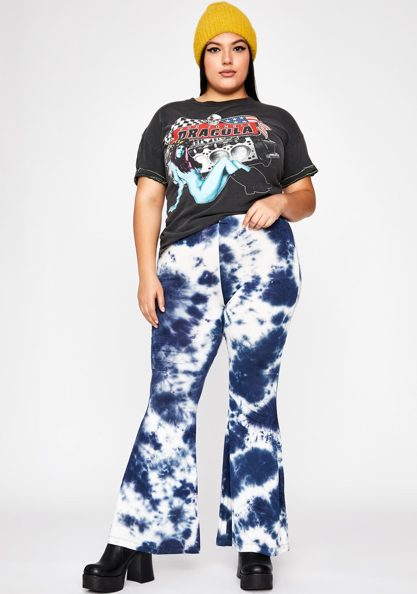 Indigo Chill All Night Tie Dye Flares