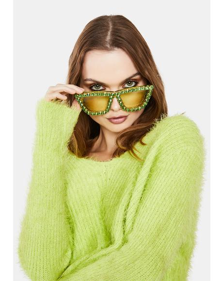 Envy Club Glam Rhinestone Oversized Sunglasses
