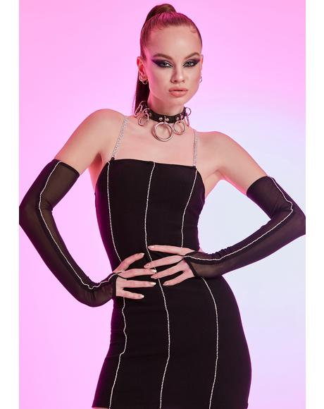 Seeking Ambitions Rhinestone Mesh Dress Set