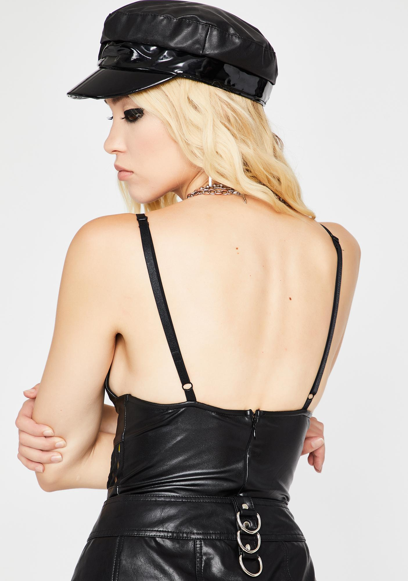 Bad Bish Vegan Leather Bodysuit