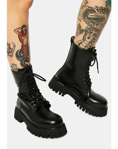 Mania Steel Toe Combat Boots