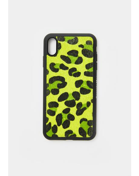Neon Green Leopard IPhone Case