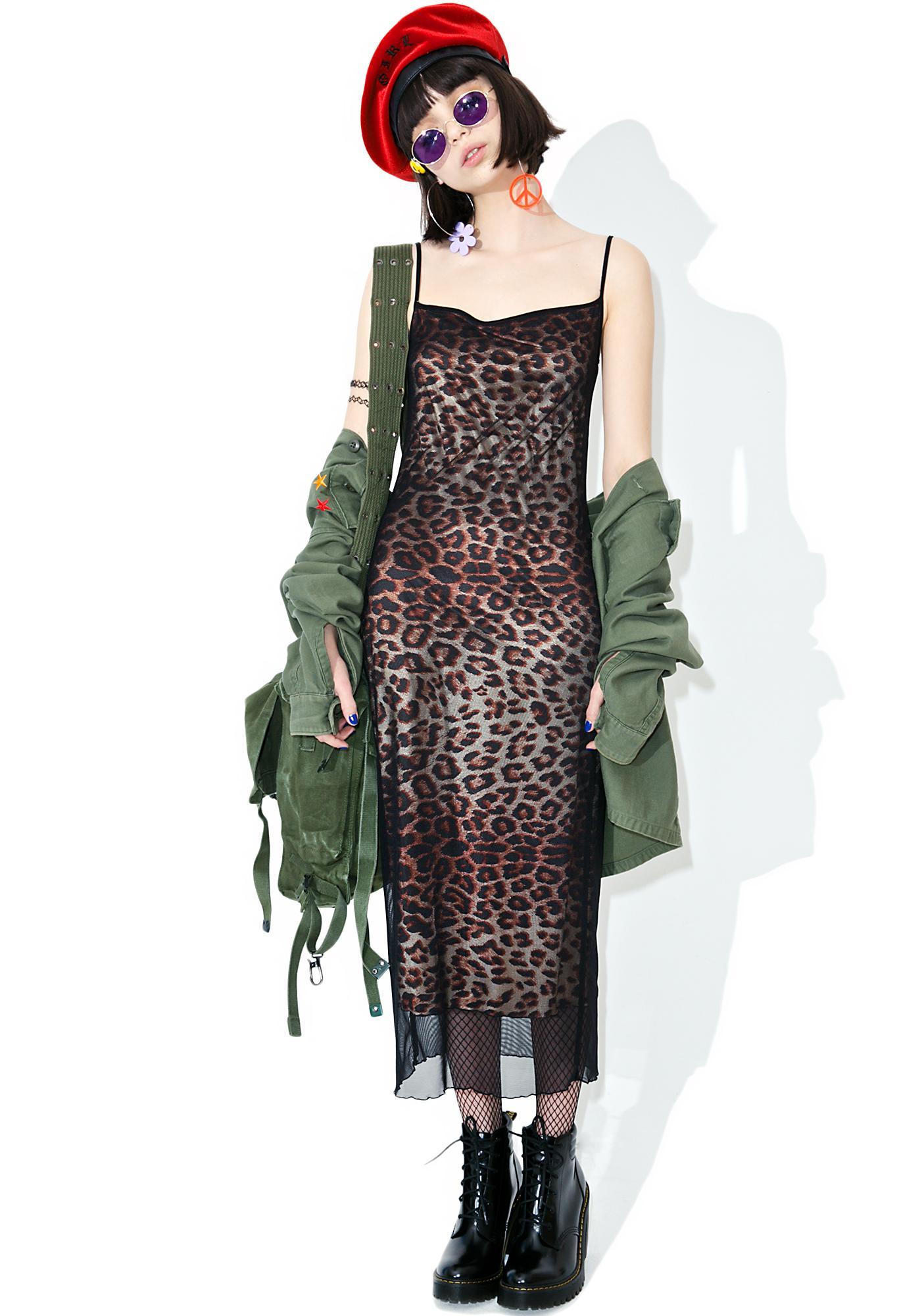 Vintage 90s Leopard Mesh Slip Dress