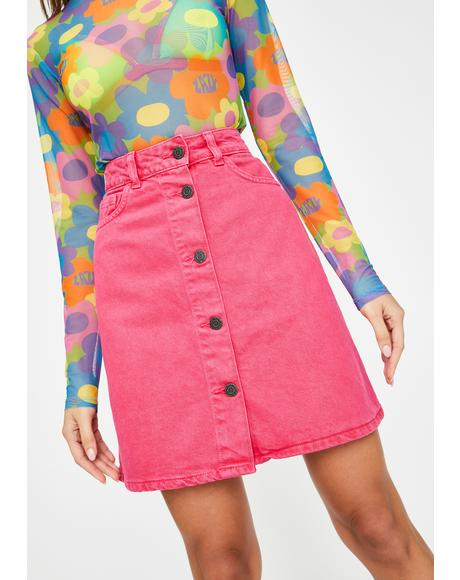 Pink Sunny Corduroy Mini Skirt