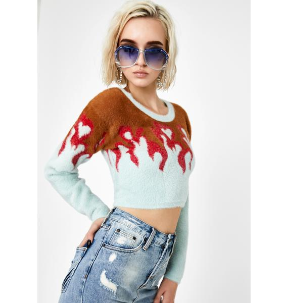 For Love & Lemons Flame Mohair Cropped Sweater