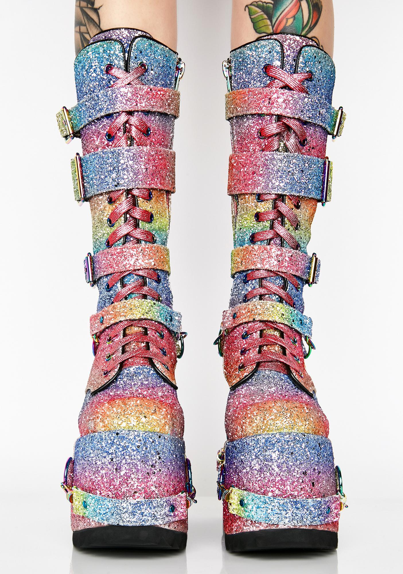 Club Exx Sparkle Pony Platform Boots