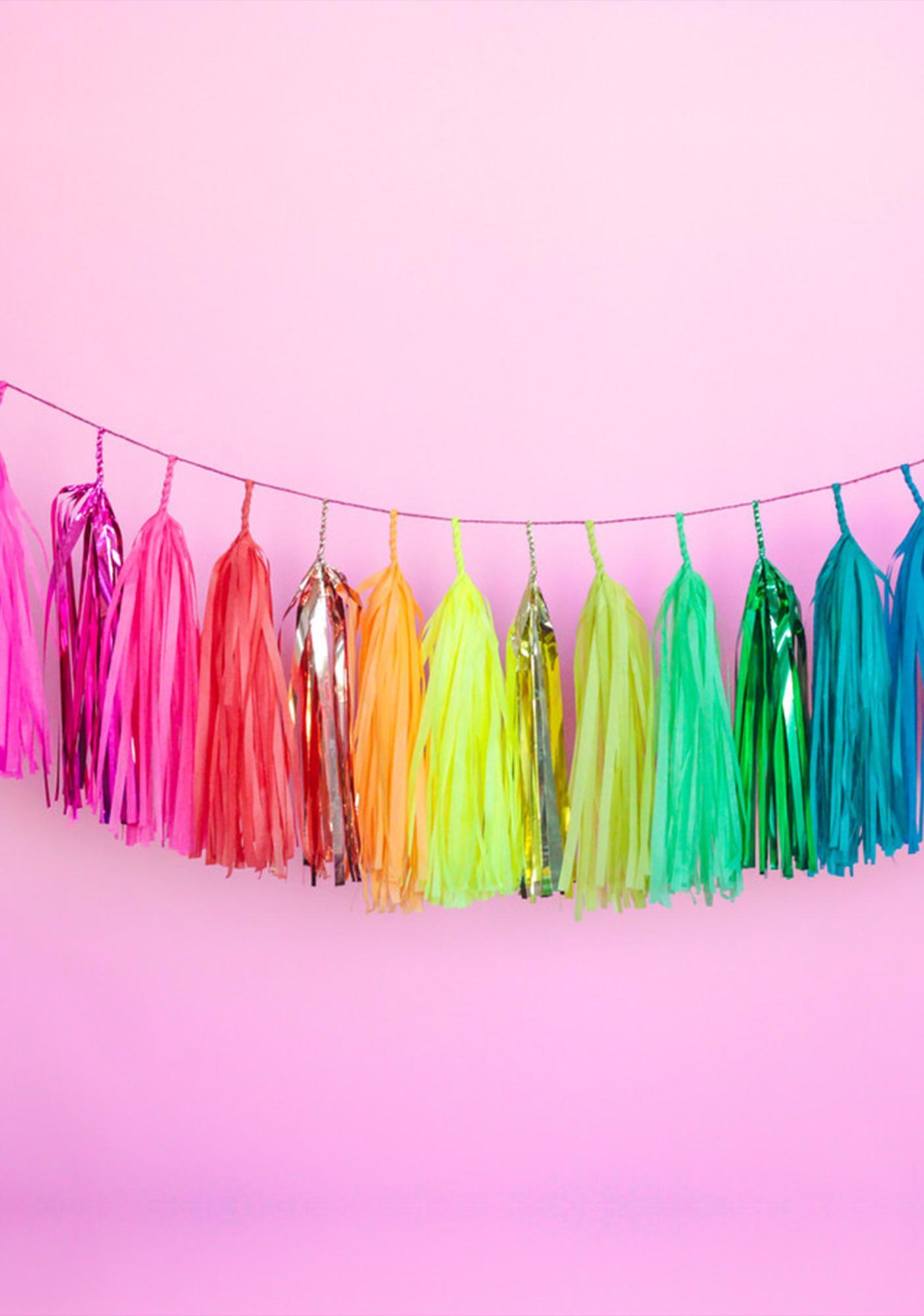 Studio Mucci Jewel Tone Rainbow Tassel Banner