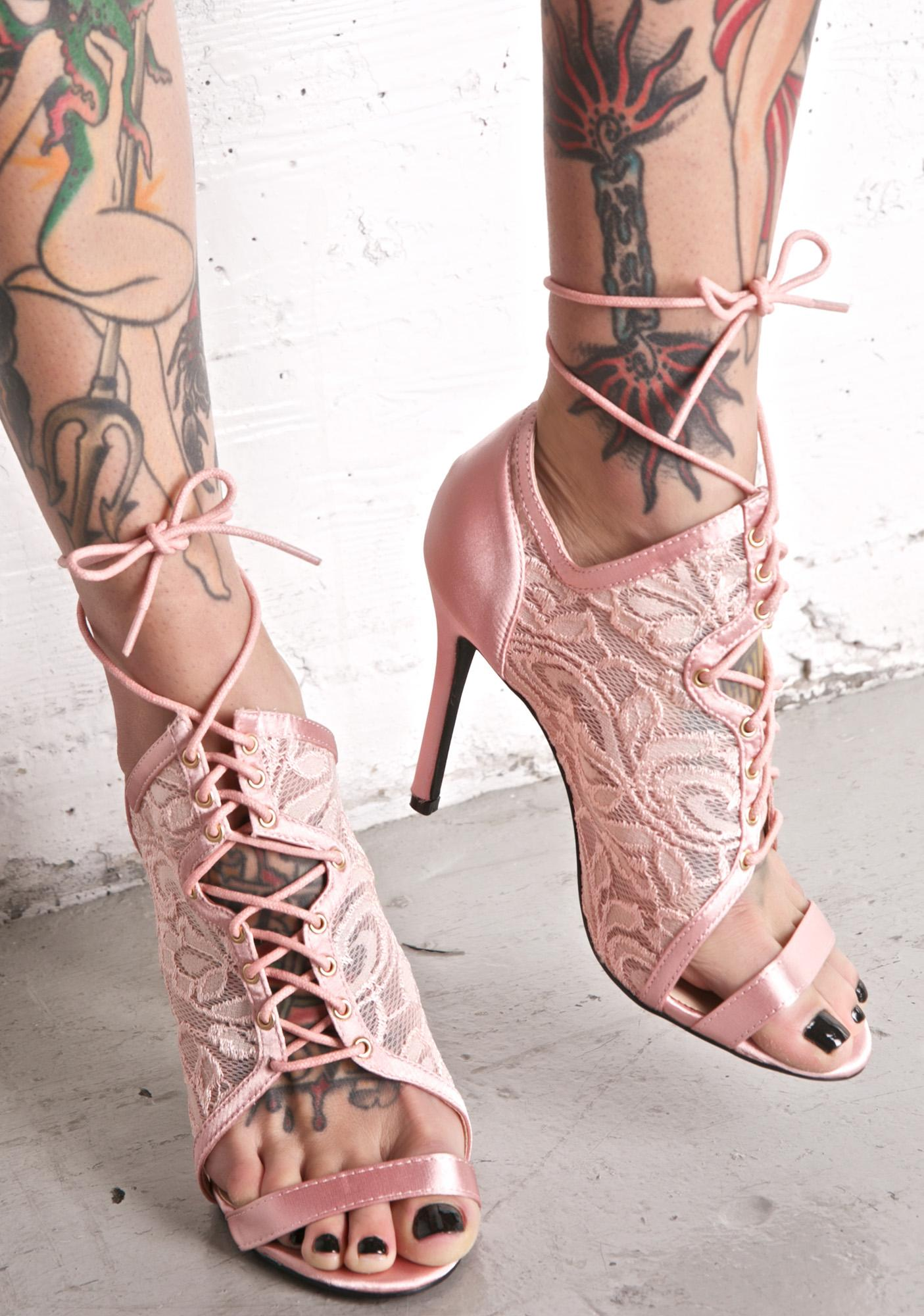 Privileged Heartthrob Lace-Up Heels