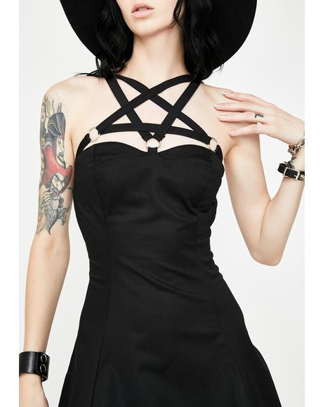 O- Ring Pentagram Strap Mini Dress