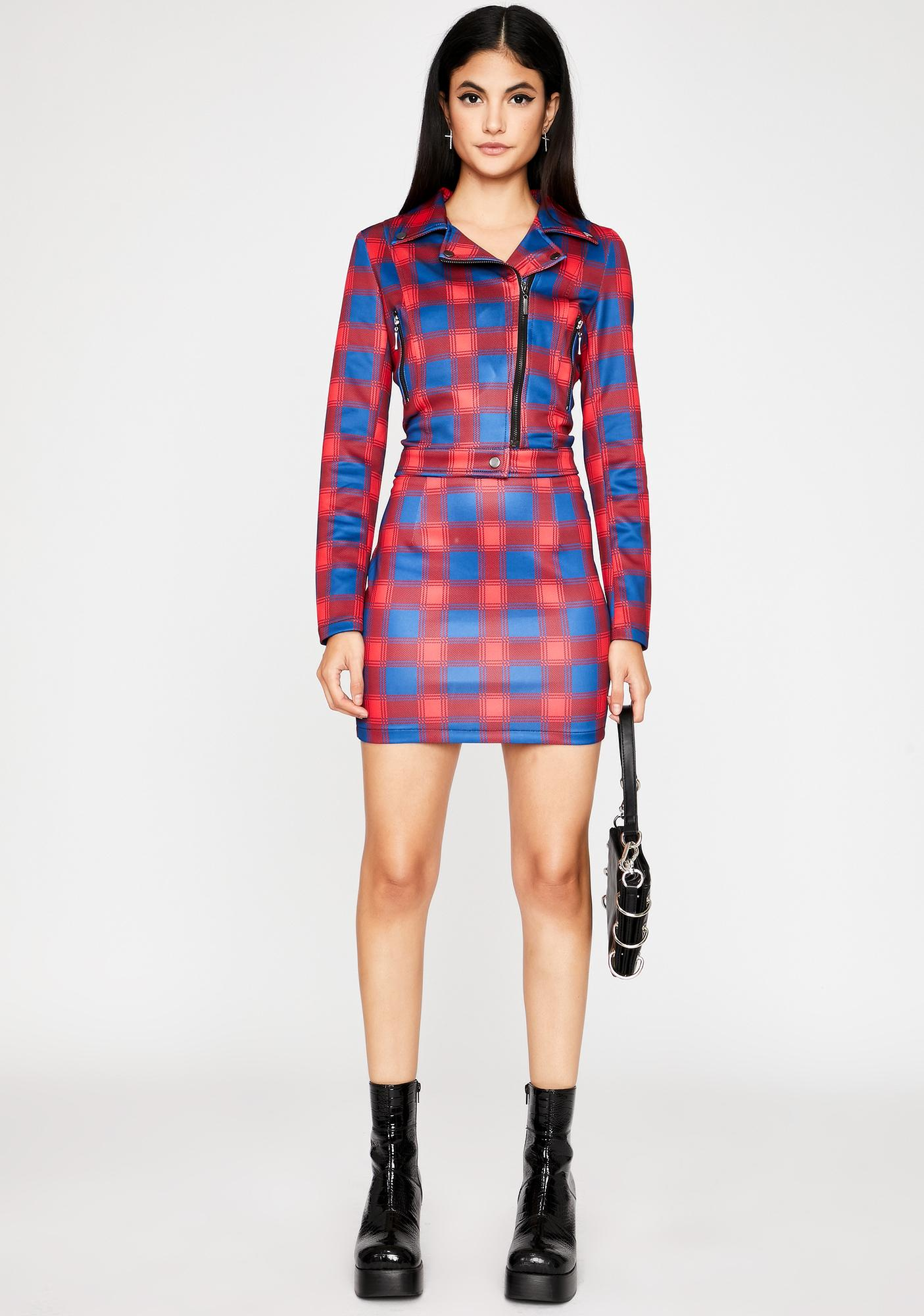 Love Plaid Action Mini Skirt