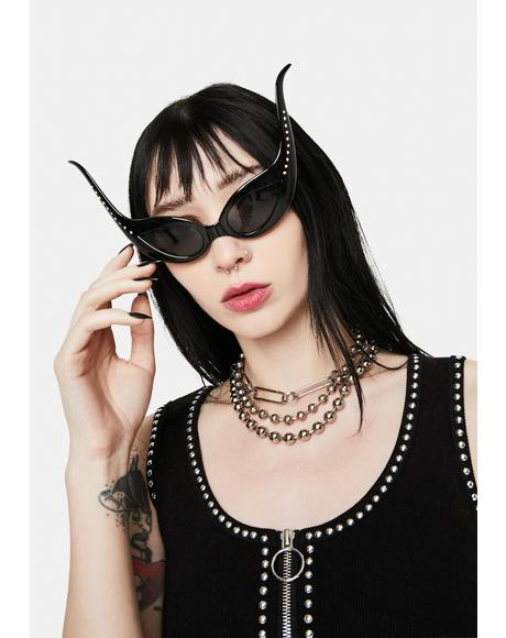 Ursula Black Extreme Cat Eye Sunglasses