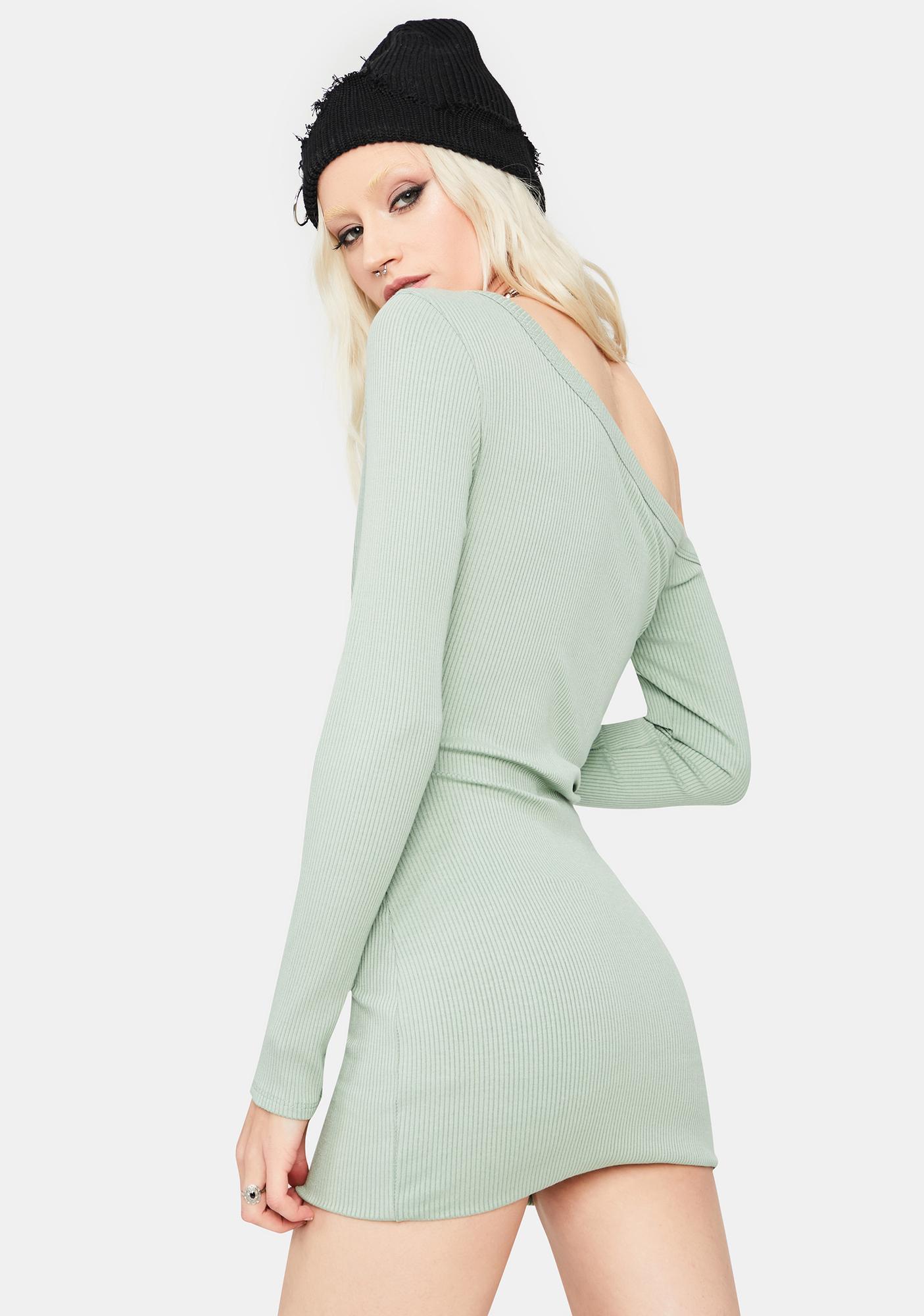 Mint Alert 'N Ready Off The Shoulder Mini Dress