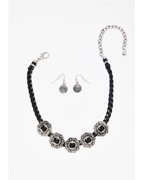 Concho Queen Choker And Earring Set