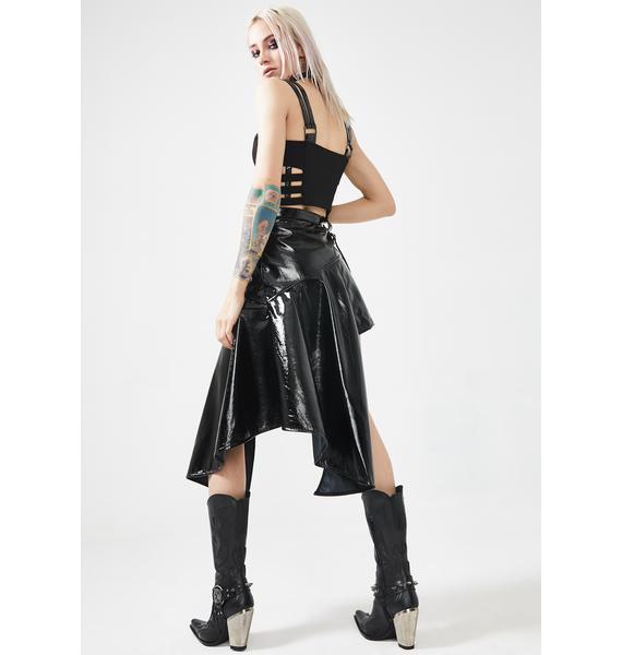 Punk Rave Metal Rock Asymmetrical Vinyl Skirt