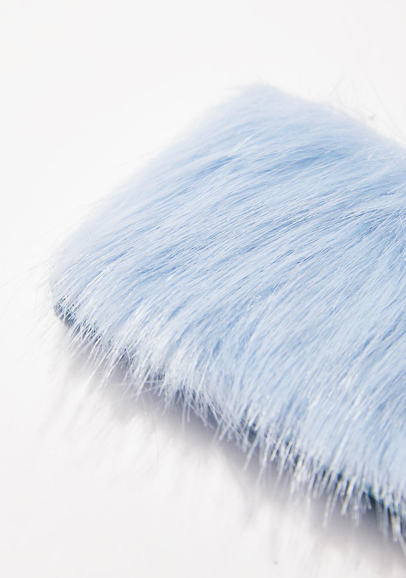 Skinnydip Sky Blue Fur Card Holder