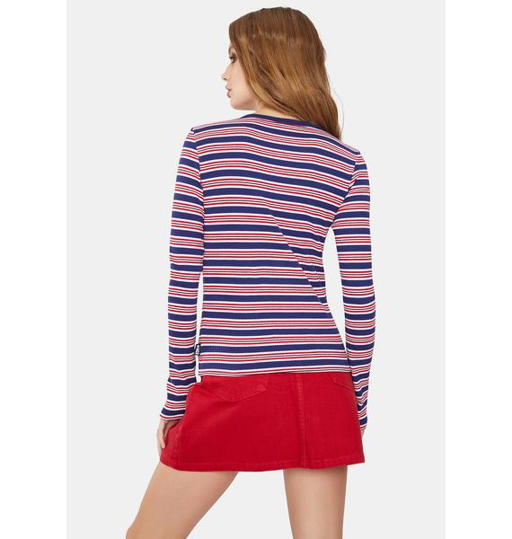 Minga Royal Queen Striped Ribbed Top