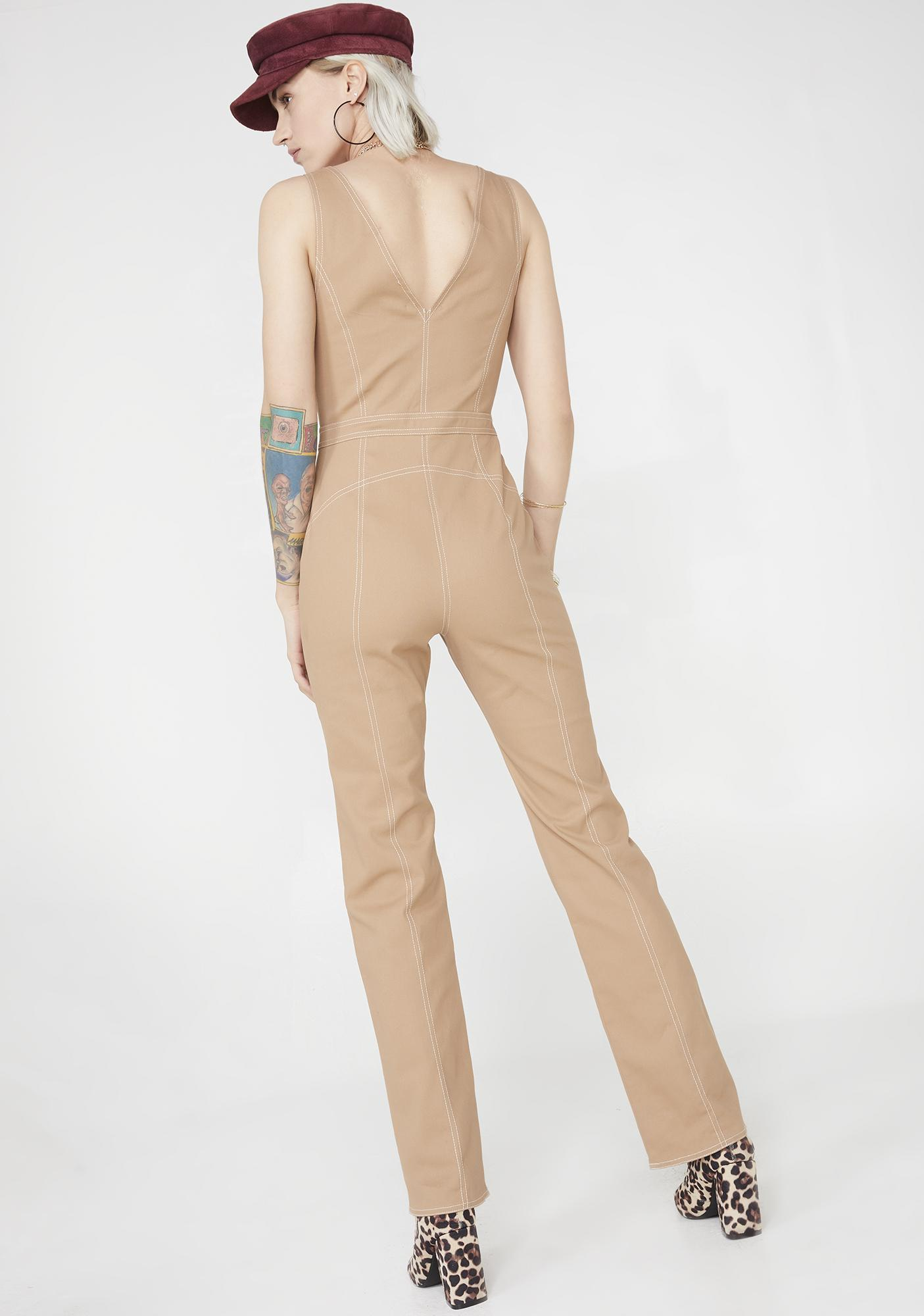 Tiger Mist Tan Ava Jumpsuit