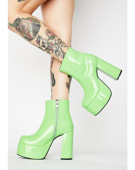 Lime Groovy Delight Platform Boots